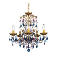 Schonbek The Rose 5 Light Chandelier in Heirloom Gold and Blue Violet Vintage Crystal Colors Trim 1425-22BV photo thumbnail