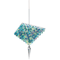 Schonbek Vertex 4 Light Pendant in Stainless Steel and Iris Swarovski Elements Trim VM1009IRI