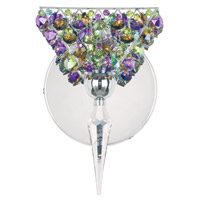 Schonbek Vertex 1 Light Wall Sconce in Stainless Steel and Forest Floor Swarovski Elements Trim VRW0508FOR