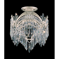 Schonbek Victorian 1 Light Semi Flush Mount in Antique Silver and Clear Heritage Handcut Trim 5744-48