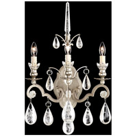 Versailles Rock Crystal 3 Light 8 inch Antique Silver Wall Sconce Wall Light