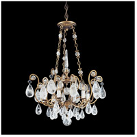 Versailles Rock Crystal 6 Light 22 inch Etruscan Gold Chandelier Ceiling Light