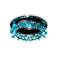 Schonbek Vertex 1 Light Recessed Light in Stainless Steel and Aqua Swarovski Elements Trim VCR031AQU