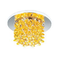 Schonbek Vertex 1 Light Recessed Light in Stainless Steel and Golden Swarovski Elements Trim VCR433GOL
