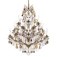 Schonbek Bordeaux 25 Light Chandelier in Etruscan Gold and Soft Jewel Heritage Handcut Colors Trim 5775-23SJ