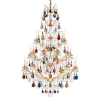 Schonbek Bordeaux 25 Light Chandelier in French Gold and Bright Jewel Vintage Crystal Colors Trim 5782-26BJ