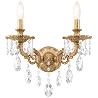 Schonbek 5642-26A Milano 2 Light 8 inch French Gold Wall Sconce Wall Light in Cast French Gold Milano Spectra