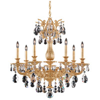 Schonbek 5677-26S Milano 7 Light 27 inch French Gold Chandelier Ceiling Light in Cast French Gold, Milano Swarovski