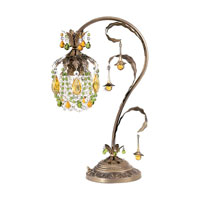 Schonbek Rondelle 1 Light Table Lamp in Etruscan Gold and Olivine & Topaz Vintage Crystal Trim 1249N-23OL