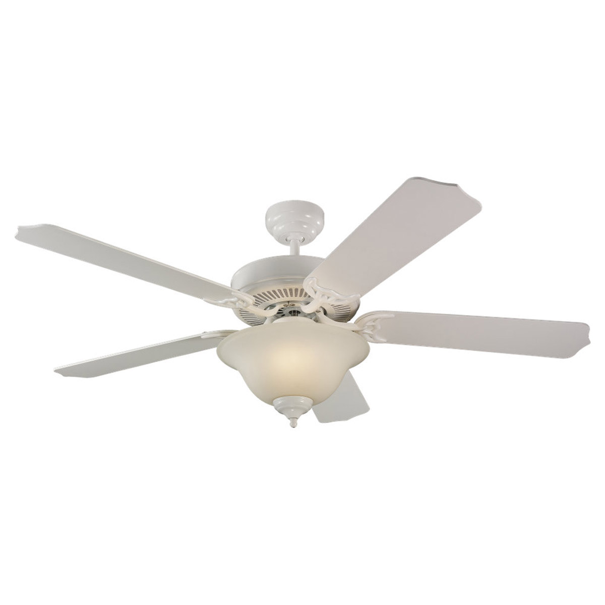 Sea Gull Lighting 2 Light 52in 5 Blade Fan, with Bowl Light, in White 15030BLE-15