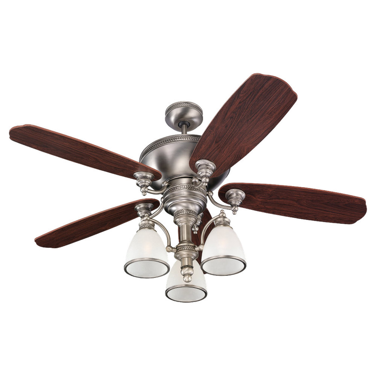 Sea Gull Lighting Laurel Leaf 3 Light 52in Ceiling Fan in Antique Brushed Nickel 15068B-965