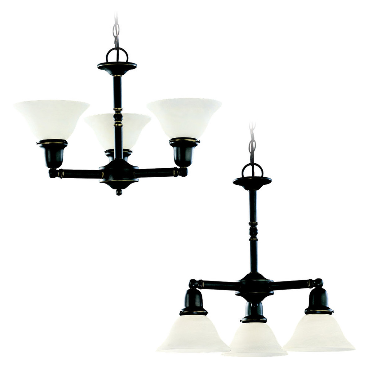 Sea Gull 31060-782 Sussex 3 Light 22 inch Heirloom Bronze Chandelier Ceiling Light in Satin Etched Glass photo