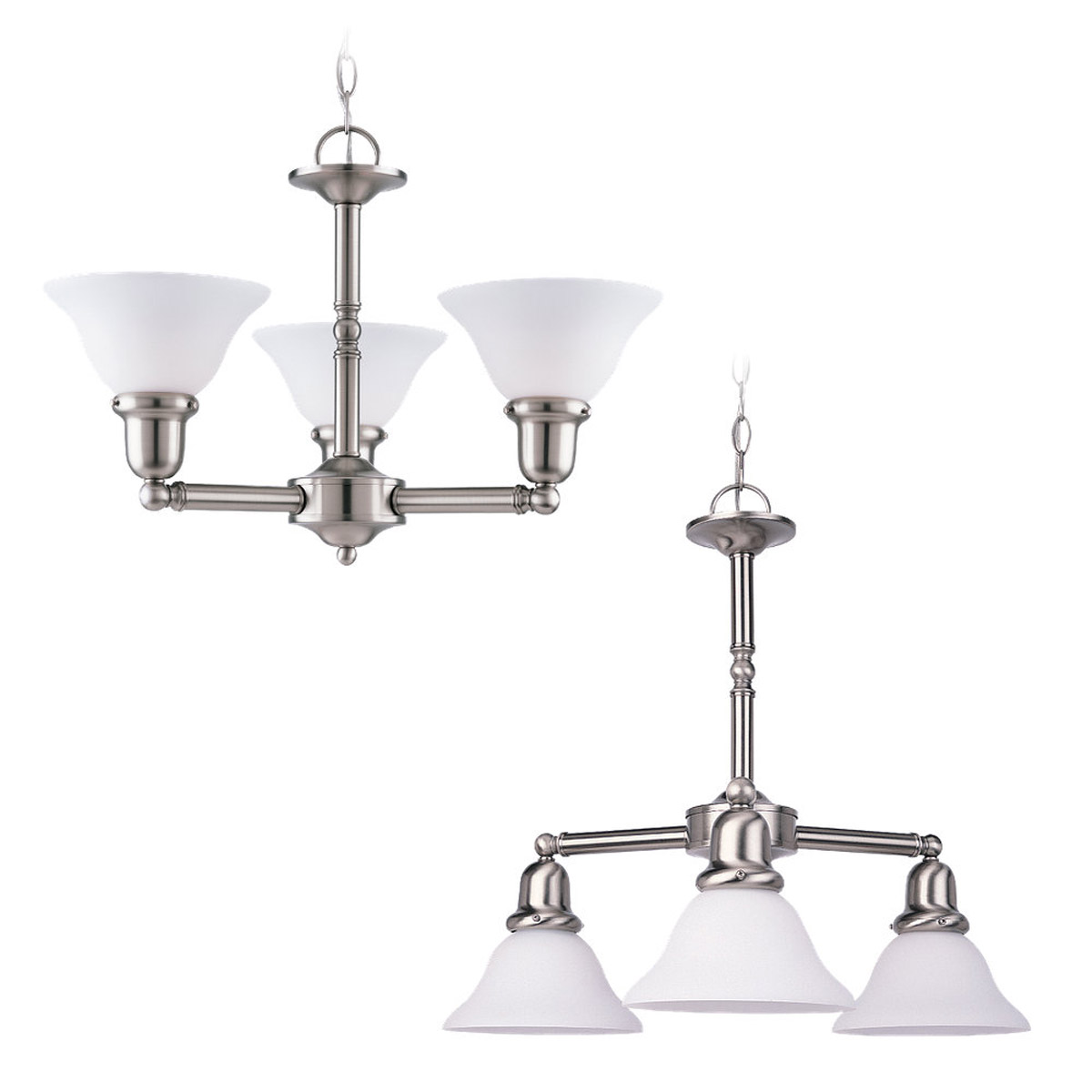Sea Gull 31060-962 Sussex 3 Light 22 inch Brushed Nickel Chandelier Ceiling Light in Satin White Glass photo