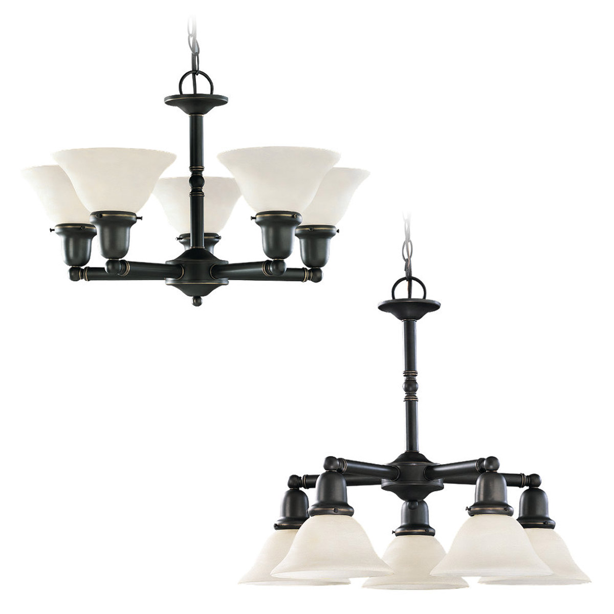 Sea Gull 31061-782 Sussex 5 Light 24 inch Heirloom Bronze Chandelier Ceiling Light in Satin Etched Glass photo