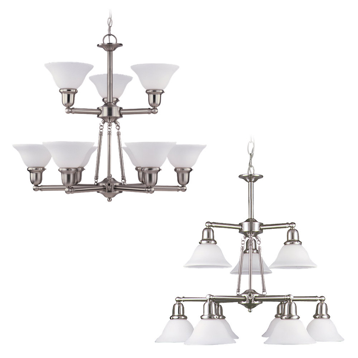 Sea Gull 31062-962 Sussex 9 Light 30 inch Brushed Nickel Chandelier Ceiling Light in Satin White Glass photo