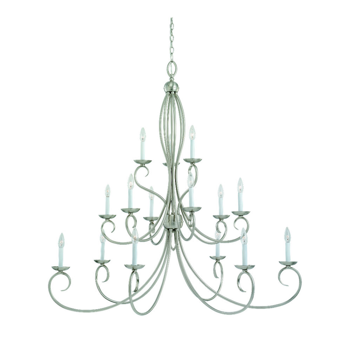 Sea Gull Lighting Pemberton 15 Light Chandelier in Brushed Nickel 31076-962