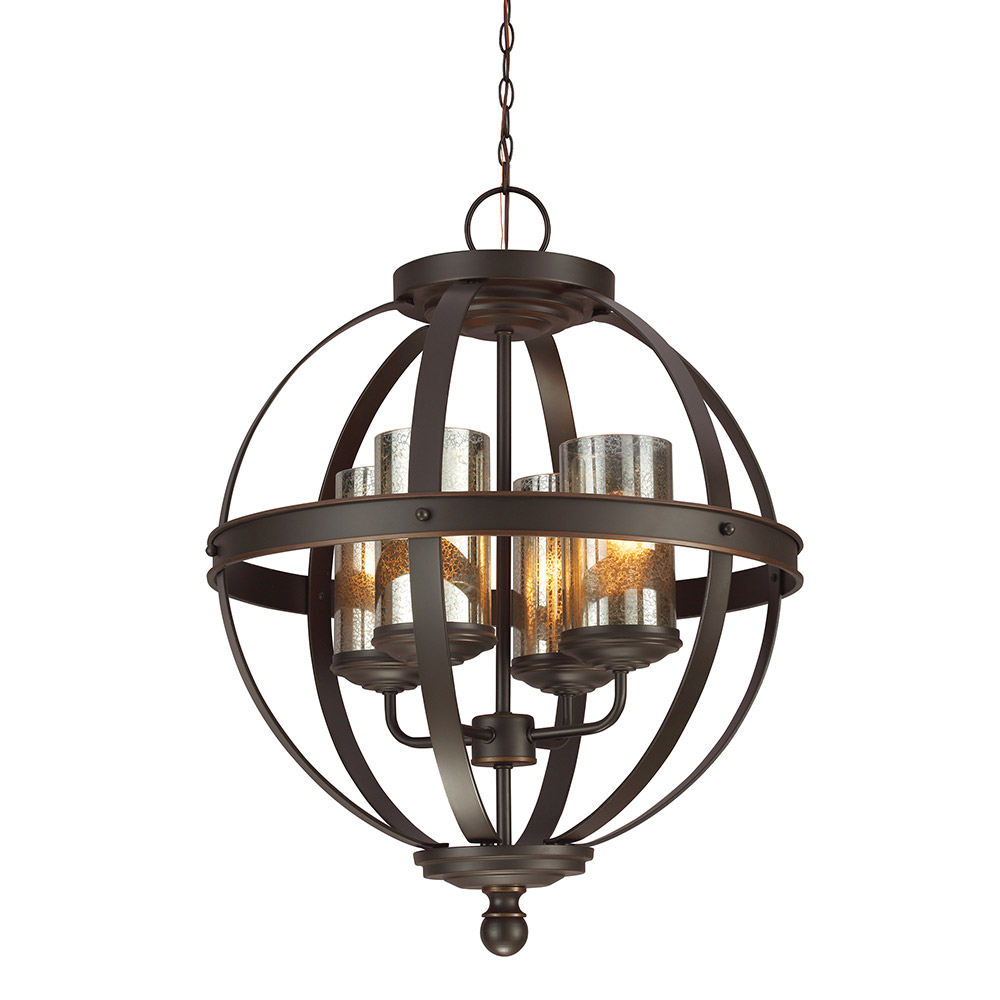 Sea Gull Sfera 4 Light Chandelier Single-Tier in Autumn Bronze 3110404BLE-715