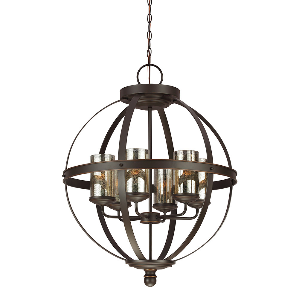 Sea Gull Sfera 6 Light Chandelier Single-Tier in Autumn Bronze 3110406BLE-715