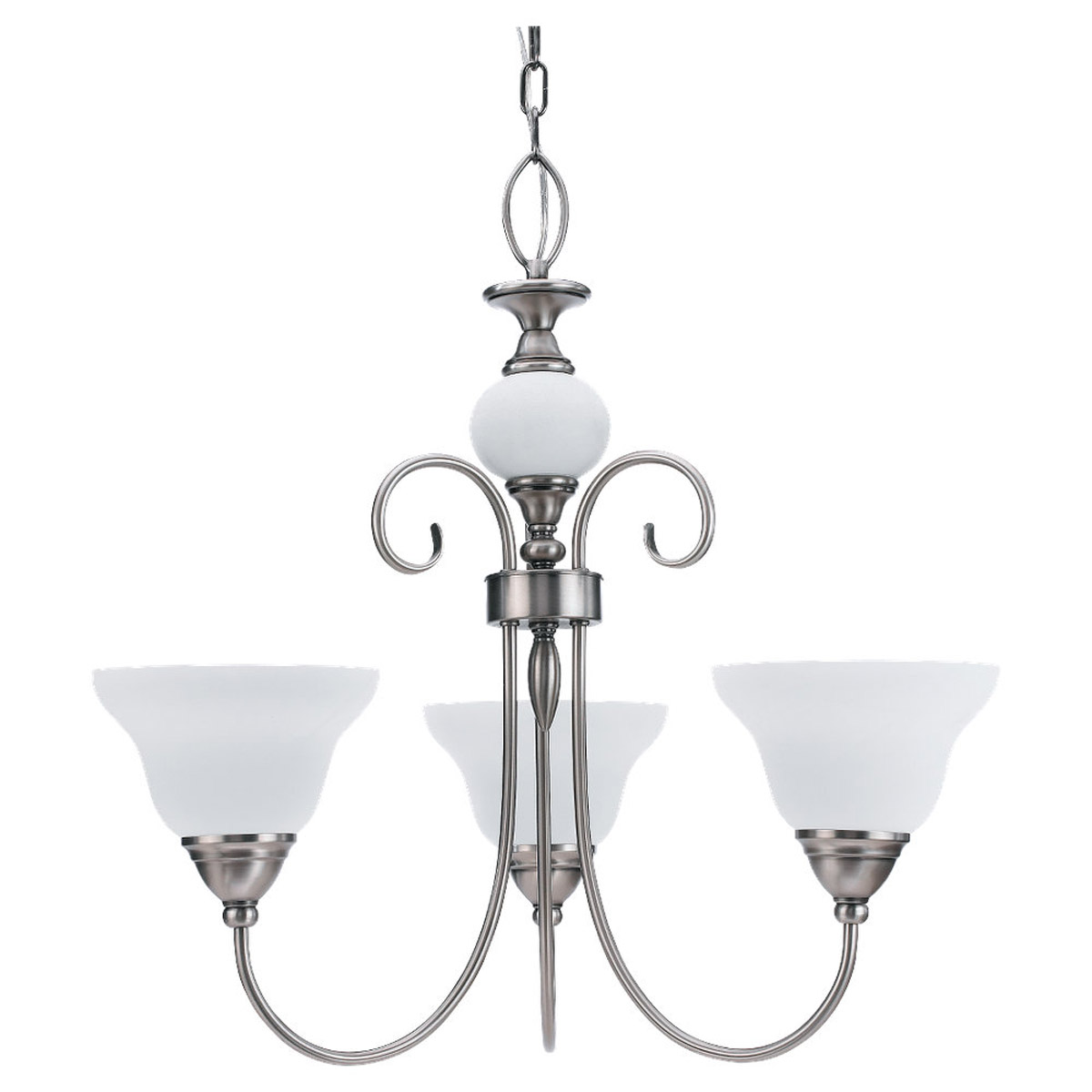 Sea Gull Lighting Montclaire 3 Light Chandelier in Antique Brushed Nickel 31105-965