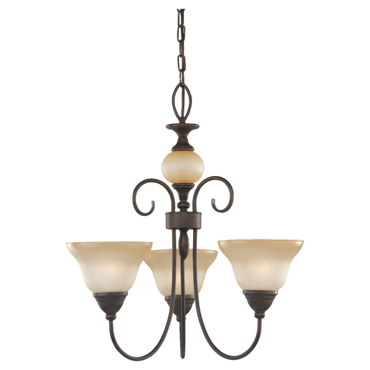 Sea Gull Lighting Montclaire 3 Light Chandelier in Olde Iron 31105BLE-72 photo