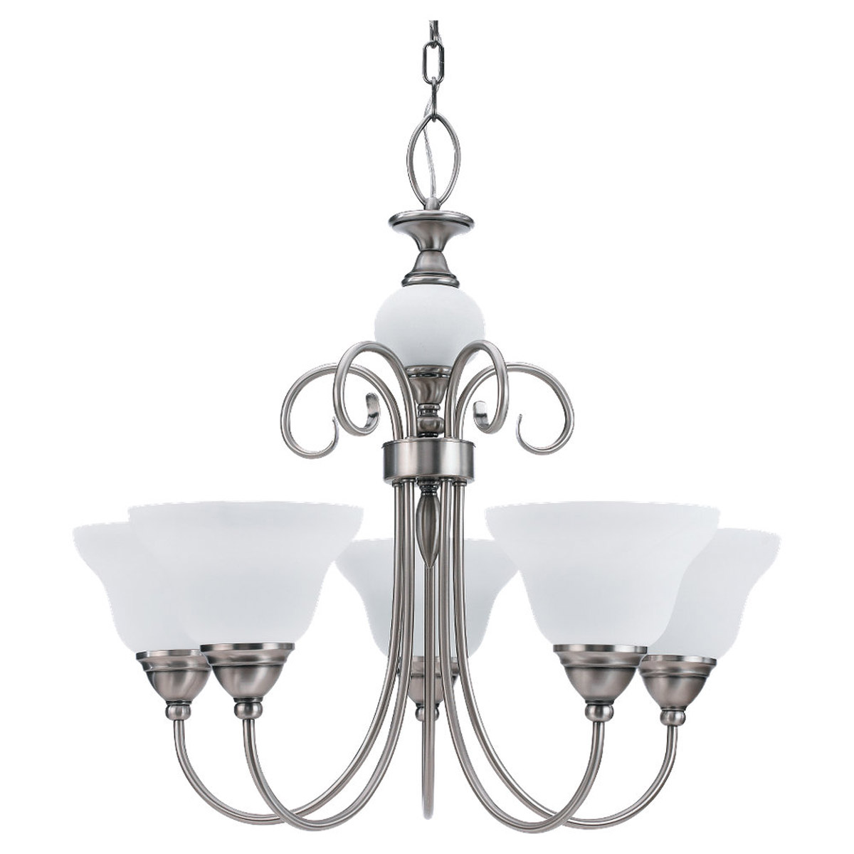 Sea Gull Lighting Montclaire 5 Light Chandelier in Antique Brushed Nickel 31106-965