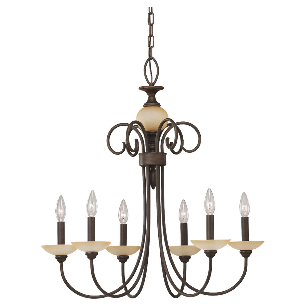 Sea Gull Lighting Montclaire 6 Light Chandelier in Olde Iron 31107-72 photo