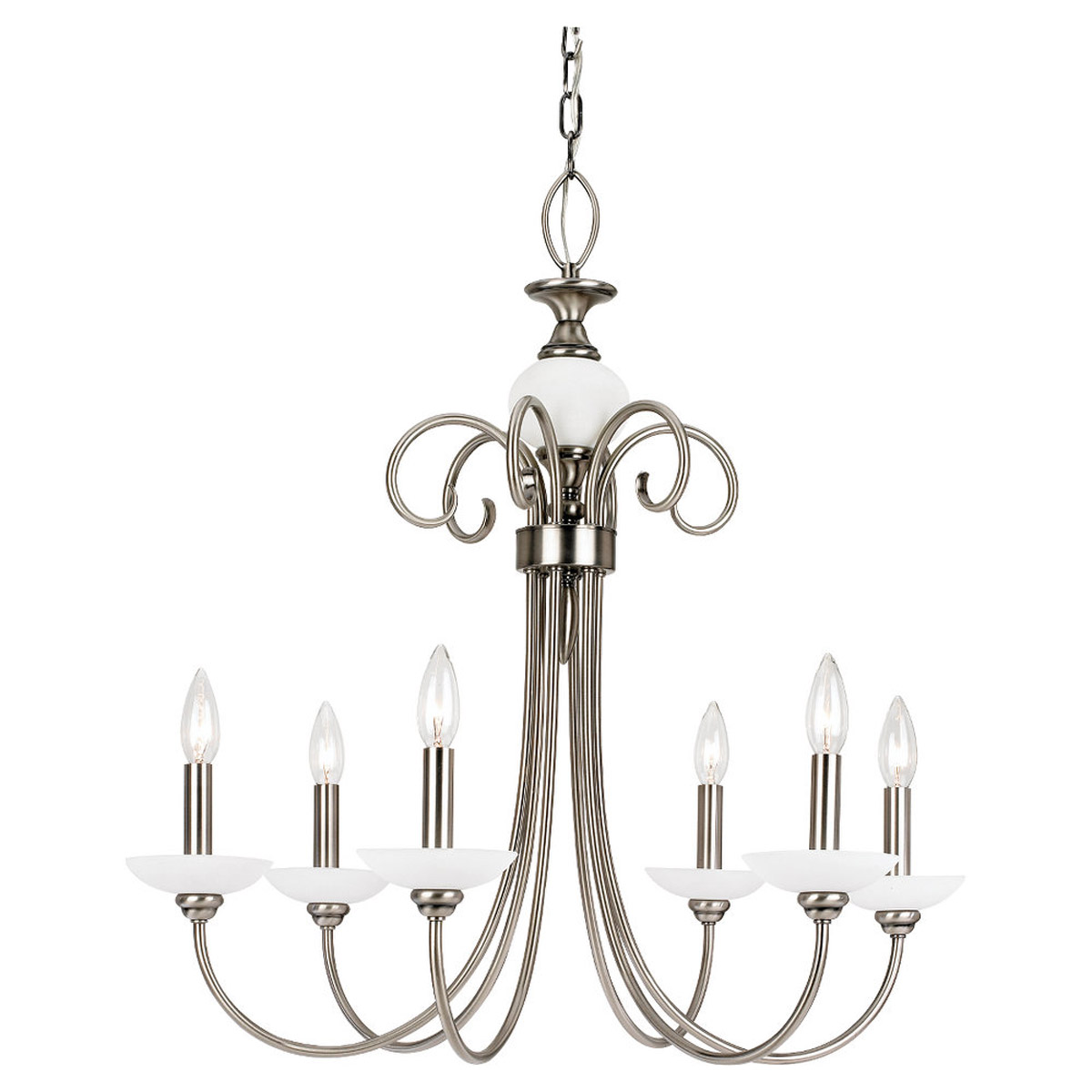Sea Gull Lighting Montclaire 6 Light Chandelier in Antique Brushed Nickel 31107-965