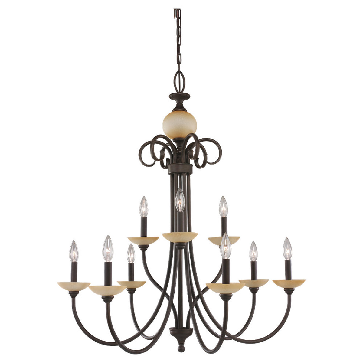 Sea Gull Lighting Montclaire 9 Light Chandelier in Olde Iron 31108-72 photo