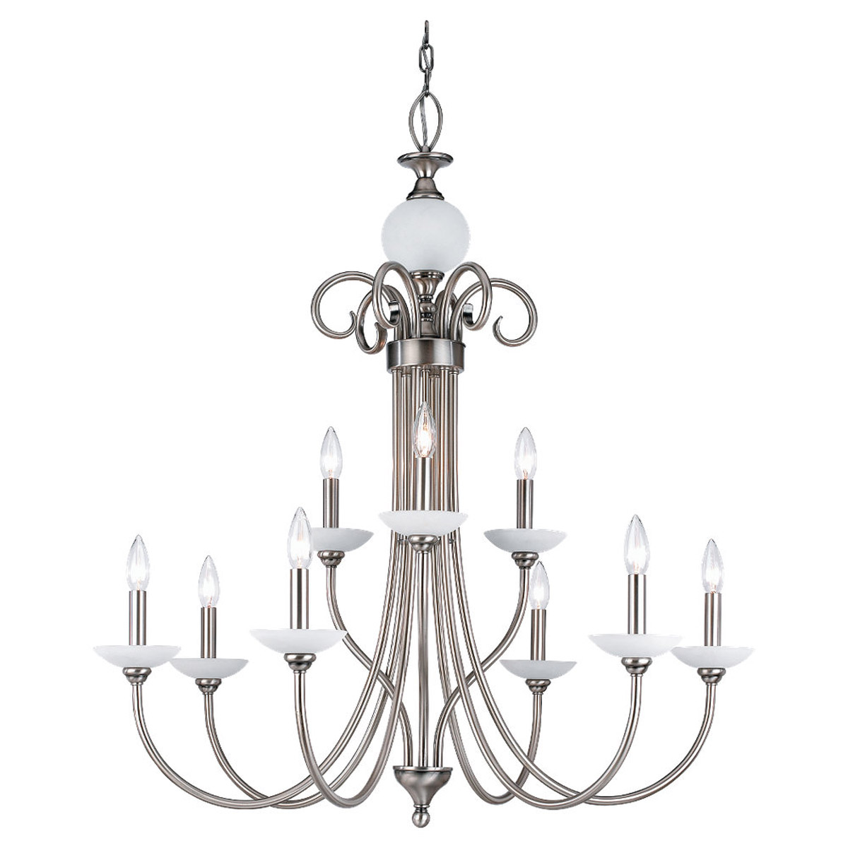 Sea Gull Lighting Montclaire 9 Light Chandelier in Antique Brushed Nickel 31108-965