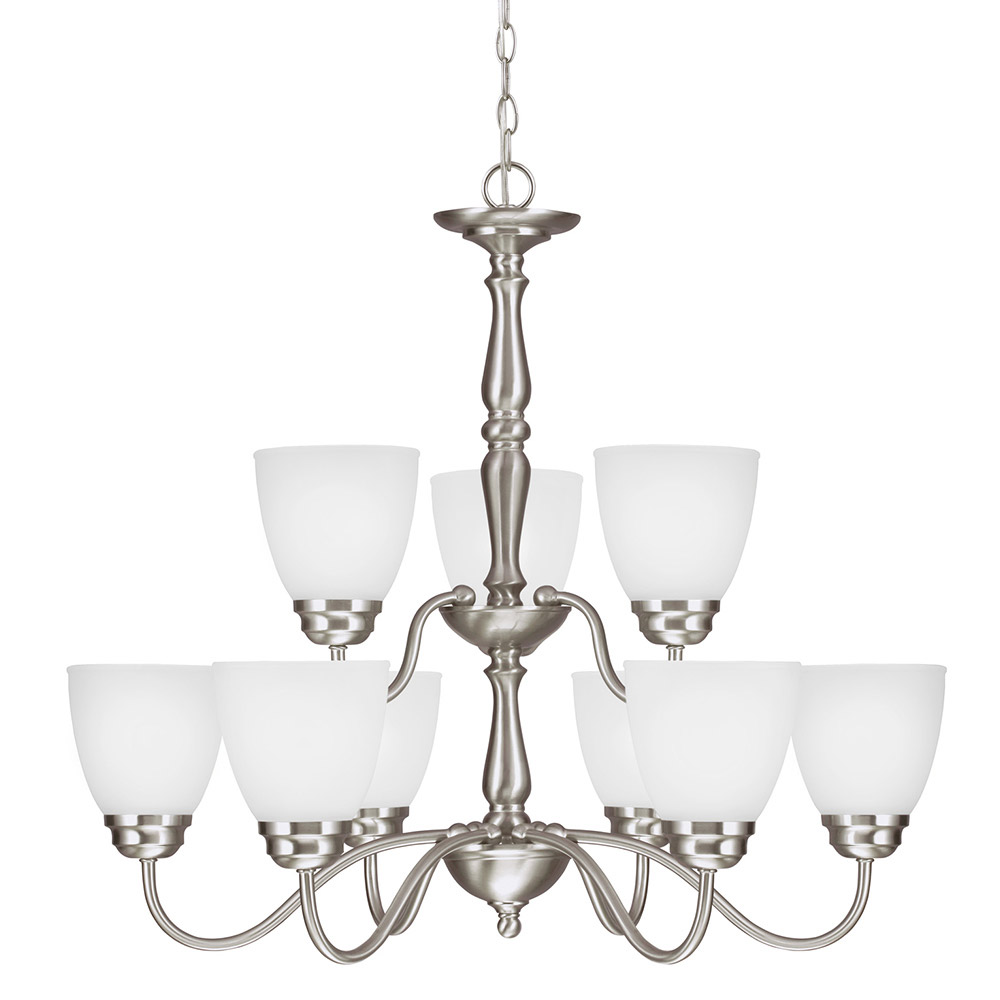 Sea Gull Northbrook 9 Light Chandelier Multi-Tier in Brushed Nickel 3112409BLE-962