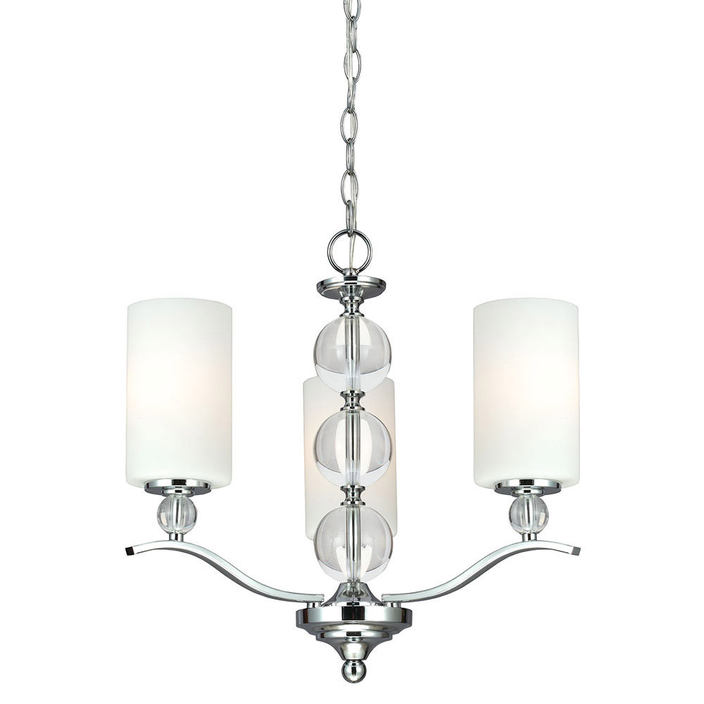 Sea Gull Englehorn 3 Light Chandelier Single-Tier in Chrome / Optic Crystal 3113403-05