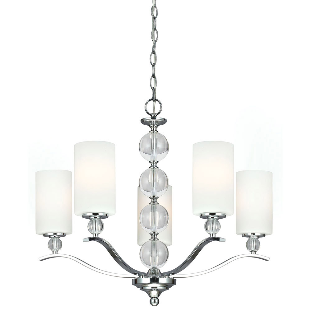 Sea Gull Englehorn 5 Light Chandelier Single-Tier in Chrome / Optic Crystal 3113405-05 photo