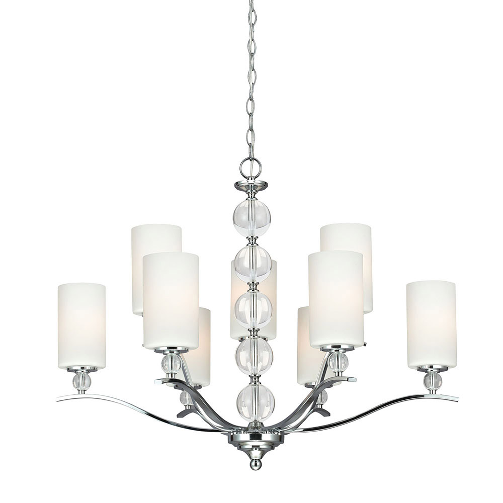 Sea Gull Englehorn 9 Light Chandelier Multi-Tier in Chrome / Optic Crystal 3113409-05