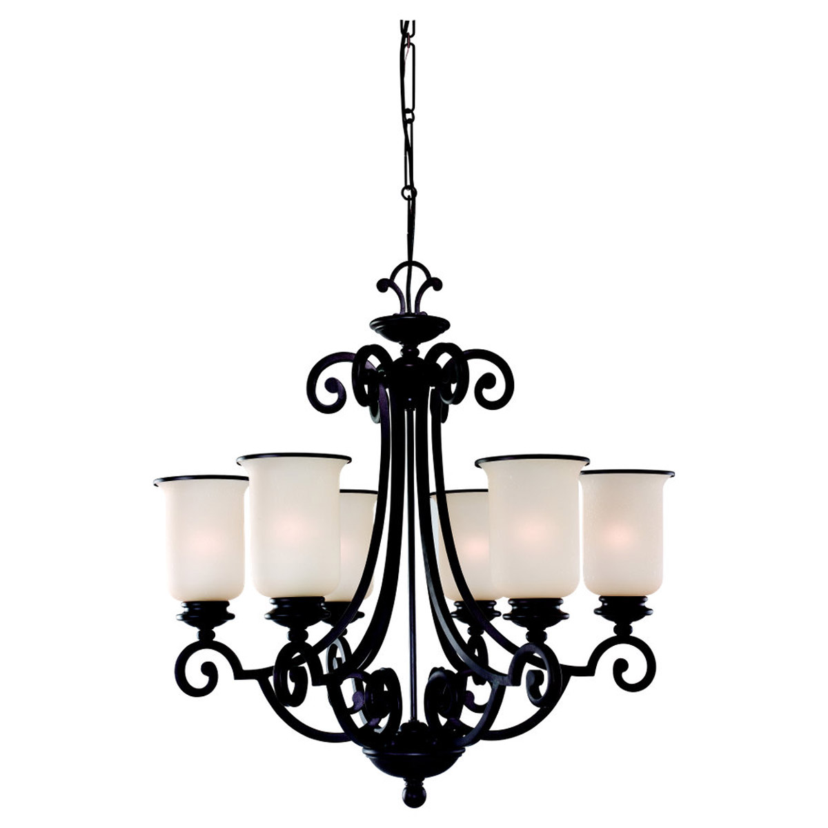 Sea Gull Lighting Acadia 6 Light Chandelier in Misted Bronze 31146BLE-814