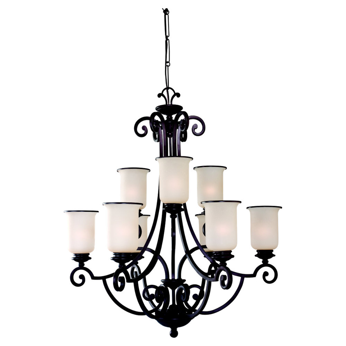 Sea Gull Lighting Acadia 9 Light Chandelier in Misted Bronze 31147BLE-814