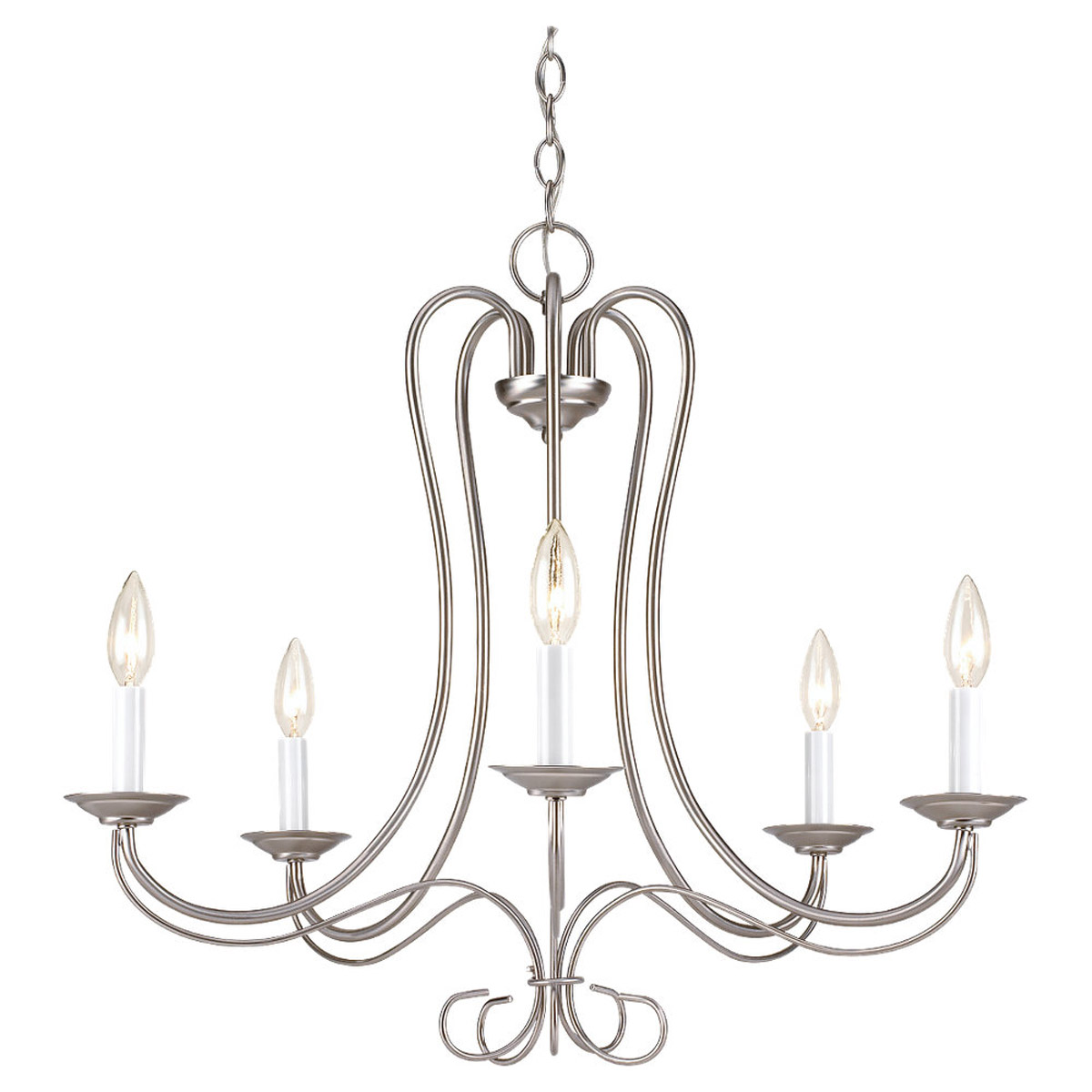 Sea Gull Lighting Traditional 5 Light Chandelier in Brushed Nickel 3116-962