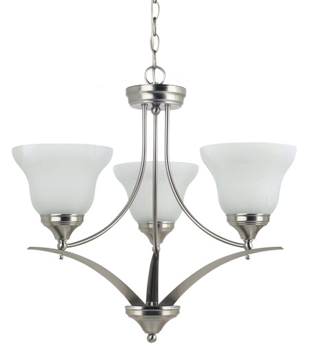 Sea Gull Lighting Brockton 3 Light Chandelier in Brushed Nickel 31173-962 photo