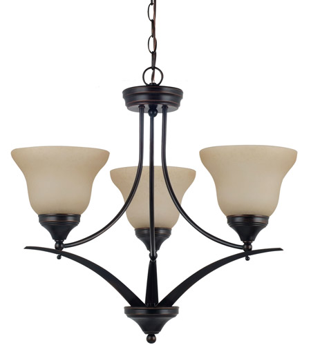 Sea Gull 31173BLE-710 Brockton 3 Light 23 inch Burnt Sienna Chandelier Ceiling Light in Fluorescent photo