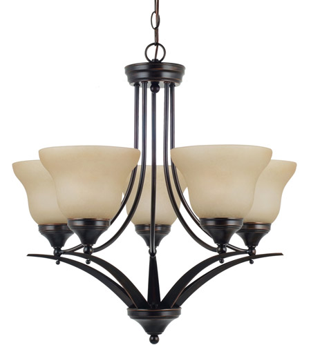 Sea Gull Lighting Brockton Fluorescent 5 Light Chandelier in Burnt Sienna 31174BLE-710