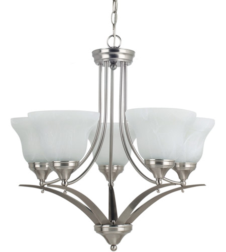 Sea Gull Lighting Brockton Fluorescent 5 Light Chandelier in Brushed Nickel 31174BLE-962