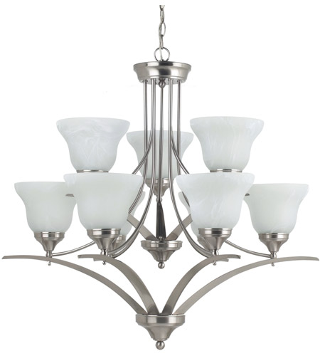 Sea Gull Lighting Brockton 9 Light Chandelier in Brushed Nickel 31175-962