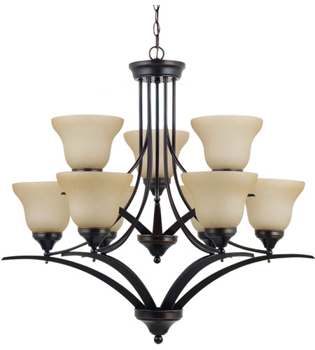 Sea Gull Lighting Brockton Fluorescent 9 Light Chandelier in Burnt Sienna 31175BLE-710 photo