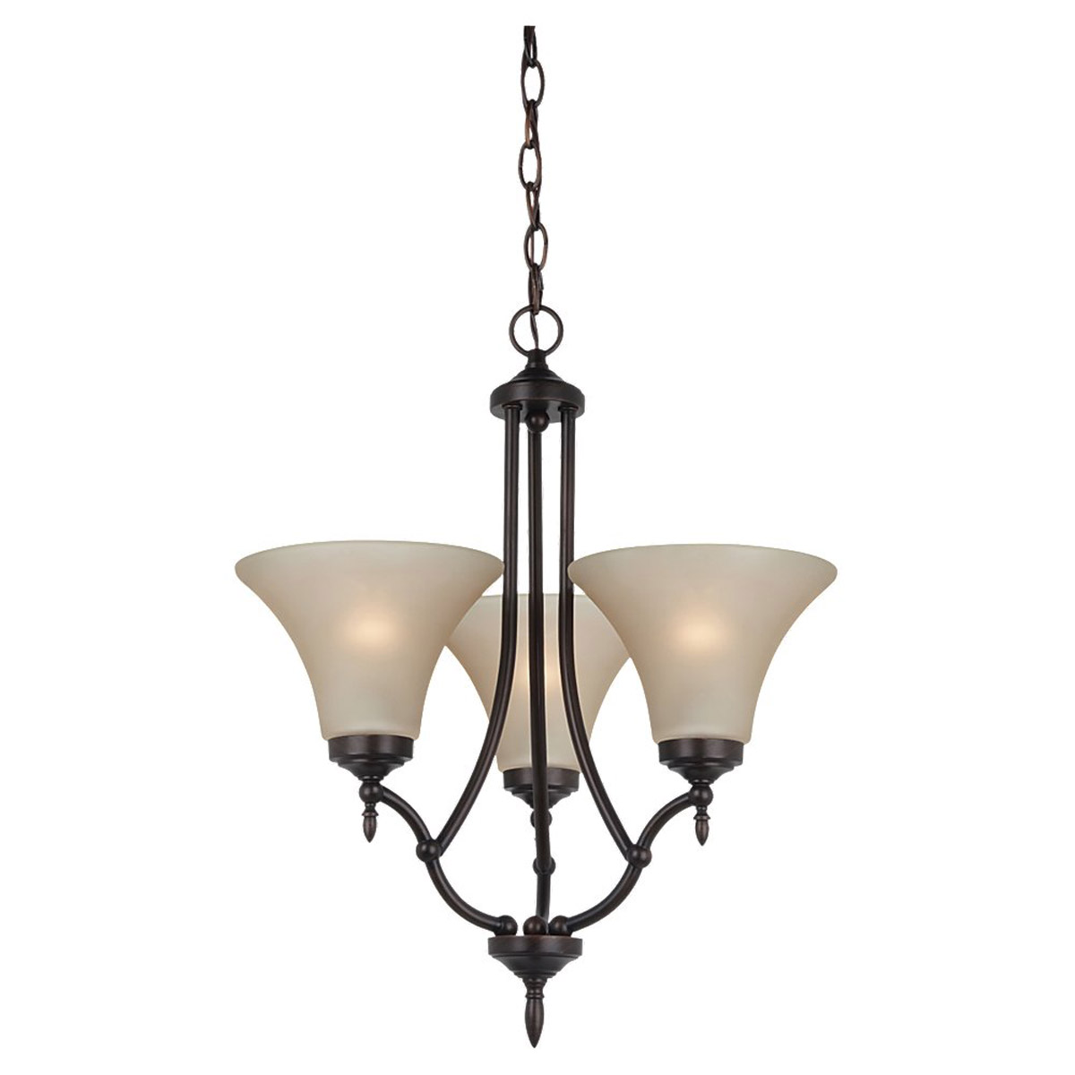 Sea Gull 31180BLE-710 Montreal 3 Light 18 inch Burnt Sienna Chandelier Ceiling Light in Cafe Tint Glass, Fluorescent photo