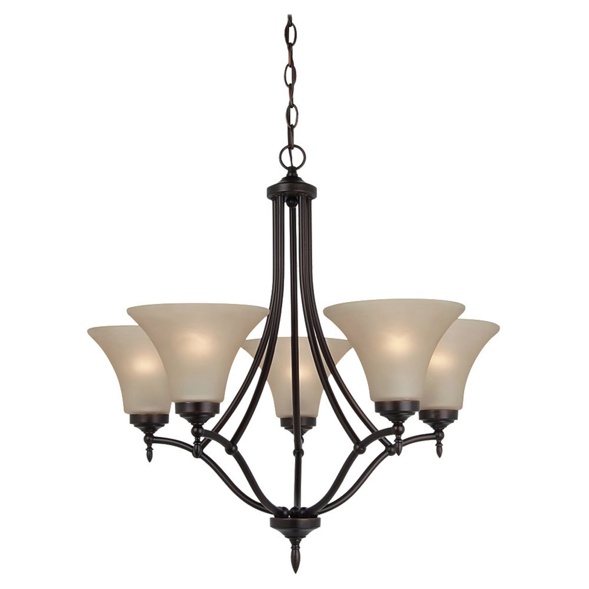 Sea Gull 31181BLE-710 Montreal 5 Light 26 inch Burnt Sienna Chandelier Ceiling Light in Cafe Tint Glass, Fluorescent photo