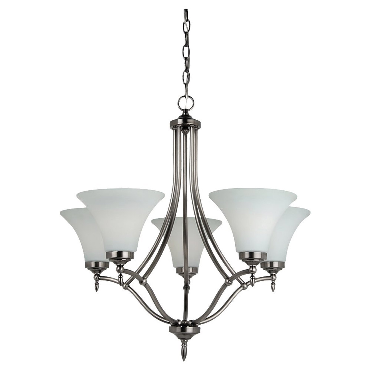 Sea Gull 31181BLE-965 Montreal 5 Light 26 inch Antique Brushed Nickel Chandelier Ceiling Light in Etched,  White Inside Glass, Fluorescent photo
