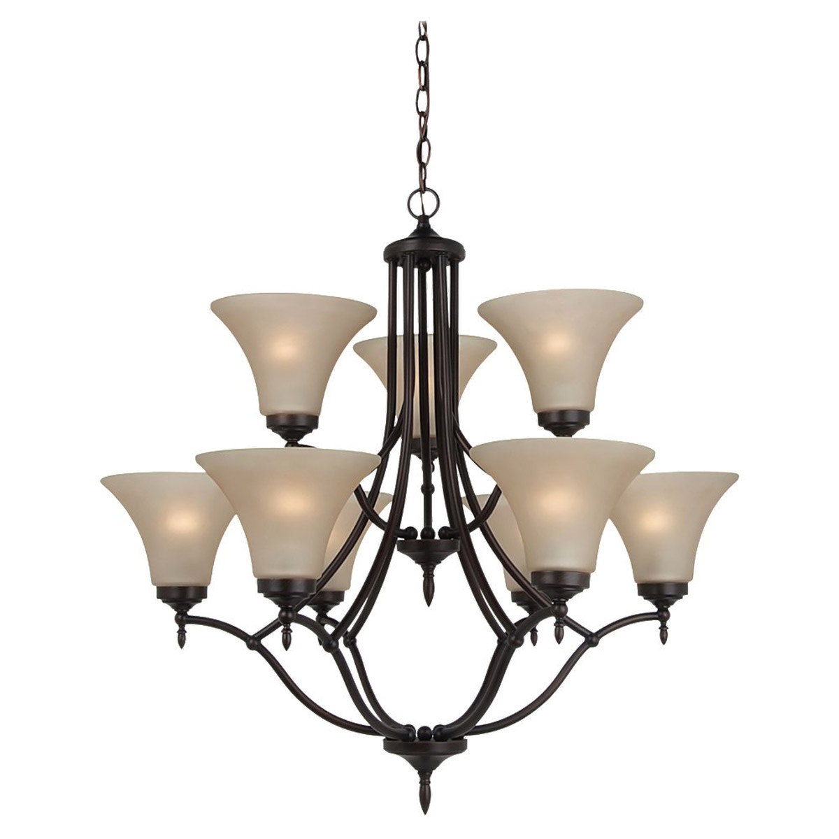 Sea Gull 31182-710 Montreal 9 Light 30 inch Burnt Sienna Chandelier Ceiling Light in Cafe Tint Glass, Standard photo