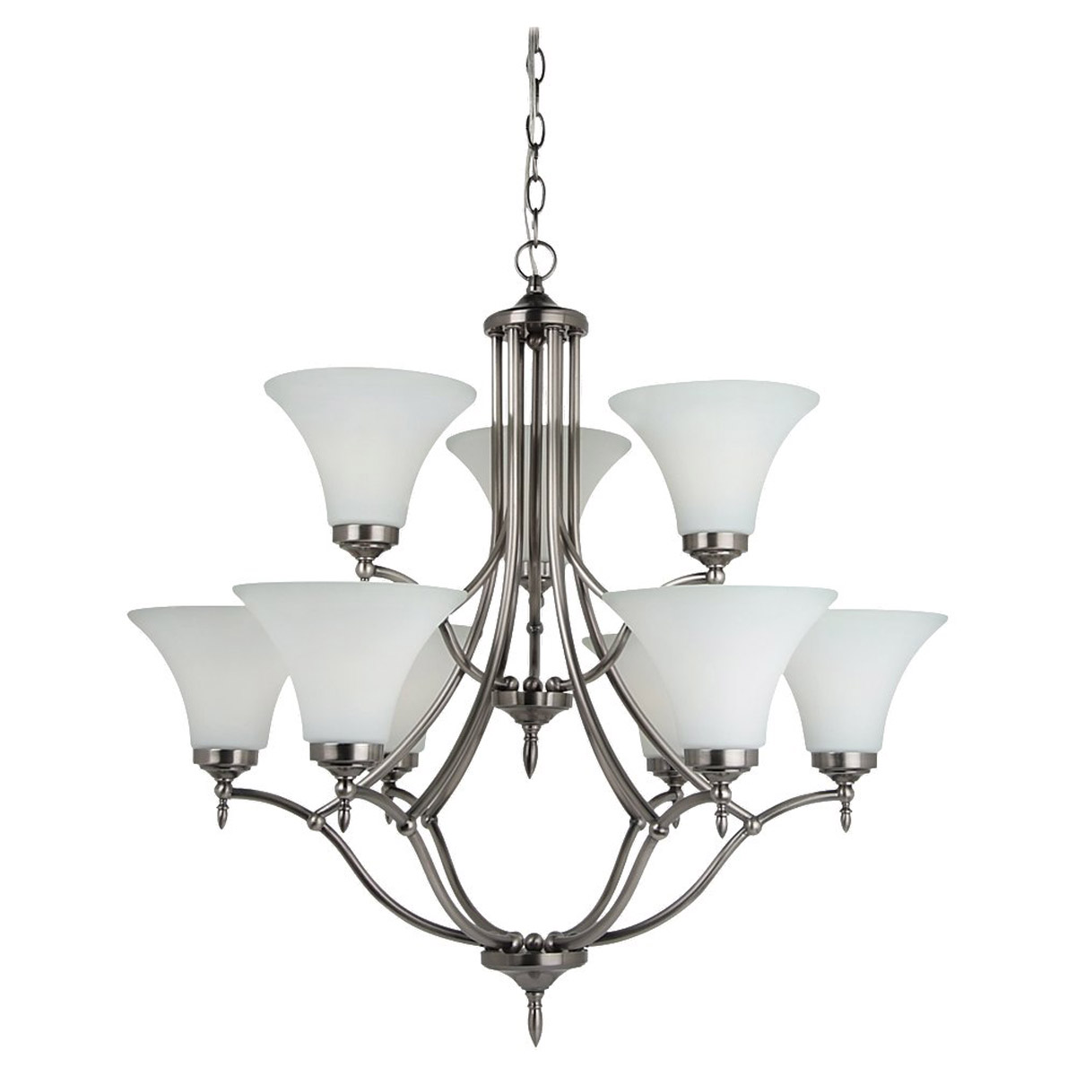 Sea Gull 31182-965 Montreal 9 Light 30 inch Antique Brushed Nickel Chandelier Ceiling Light in Etched,  White Inside Glass, Standard photo