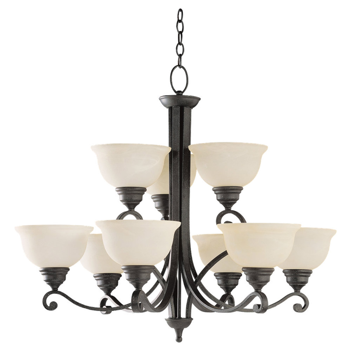 Sea Gull Lighting Serenity 9 Light Chandelier in Weathered Iron 31192-07 photo