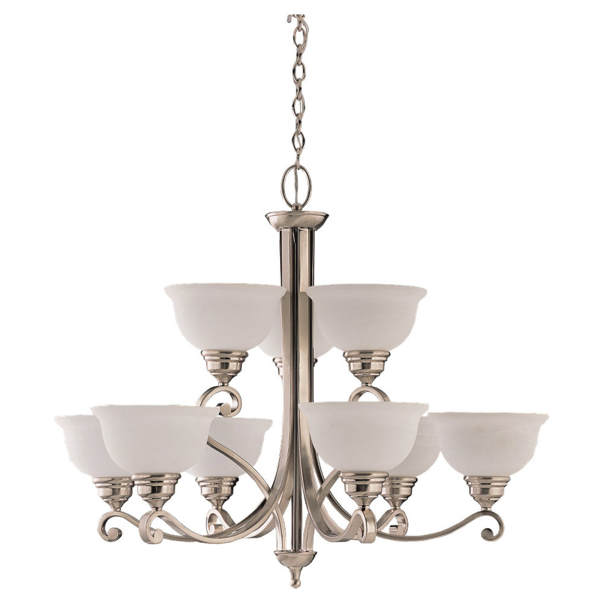 Sea Gull Lighting Serenity 9 Light Chandelier in Brushed Nickel 31192-962