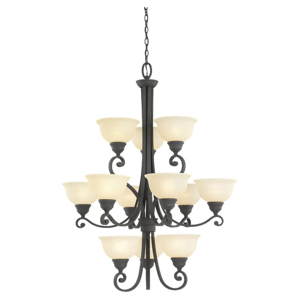 Sea Gull Lighting Serenity 12 Light Chandelier in Weathered Iron 31193-07 photo